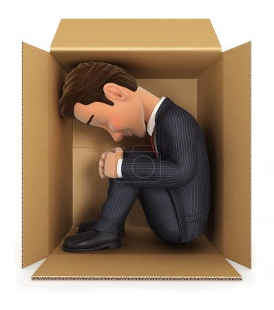 3d businessman inside cardboard box, isolated whit...
