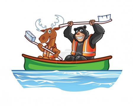 Moose and Bear in Canoe