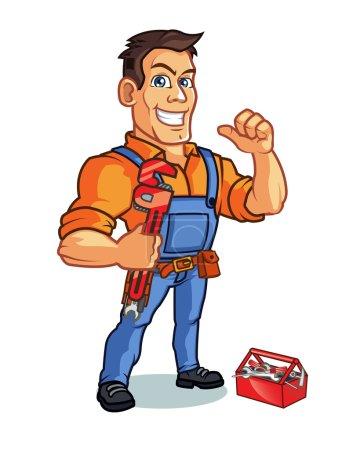 Illustration pour Conception vectorielle de la clé de transport homme beau pour plombier entreprise Logo mascotte - image libre de droit
