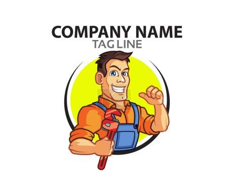 Illustration pour Conception vectorielle de la clé de transport de bel homme pour le logo d'entreprise de plombier - image libre de droit