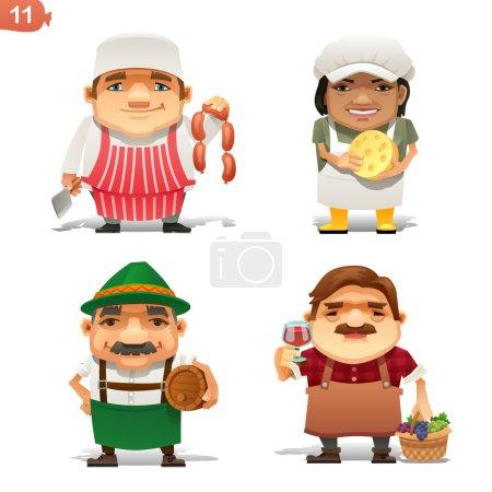 Photo pour Ensemble de personnages de dessins animés sur le thème des professions de l'industrie alimentaire - image libre de droit
