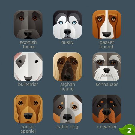 Dogs faces icons