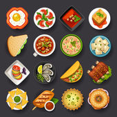 Tasty dishes icon set for web design