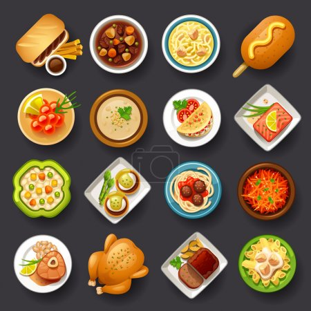 Illustration for Tasty dishes icon set for web design - Royalty Free Image