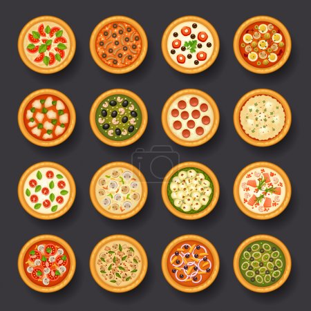Illustration for Tasty pizza icon set for web design - Royalty Free Image