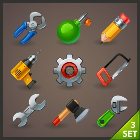 Illustration for Tools icon vector design set - Royalty Free Image