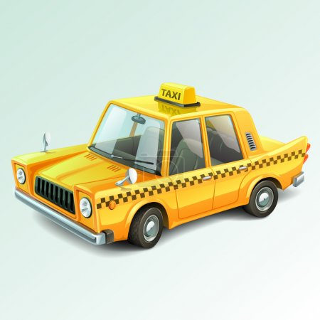 Yellow retro taxi car