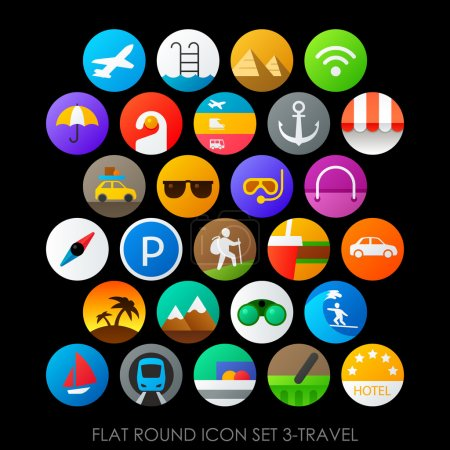 round icons set travel