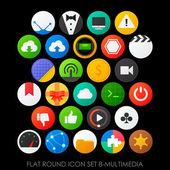 Flat round icons multimedia