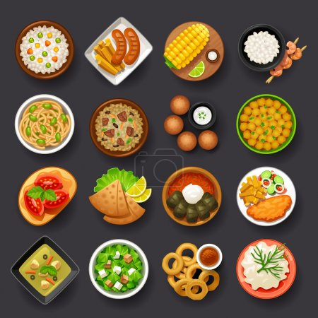 Illustration for Tasty dishes icons set - Royalty Free Image