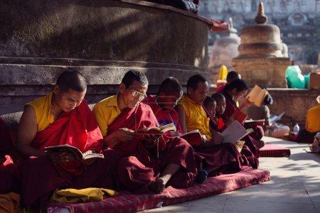 BODHGAYA, INDIA - JANUARY 21, 2015: Tibetan monks are celebratin