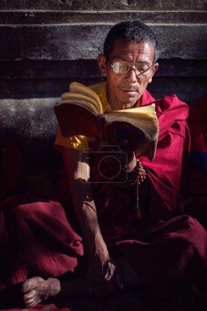 BODH GAYA, INDIA - JANUARY 21, 2015: Tibetan monk are celebratin