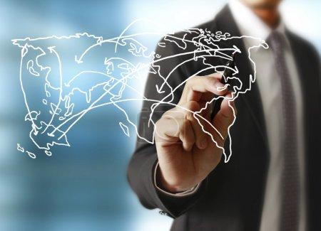 Logistics concept, man drawing the world map...