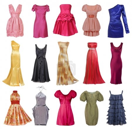 Large collection of stylish evening dresses women (isolated on w