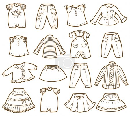collection of children's clothing (vector illustration)