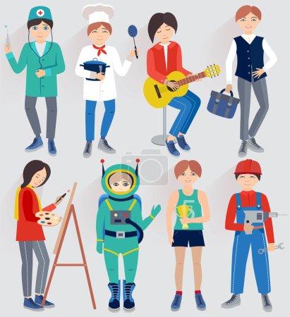 Photo pour Ensemble avec des personnes de différentes professions (illustration vectorielle  ) - image libre de droit