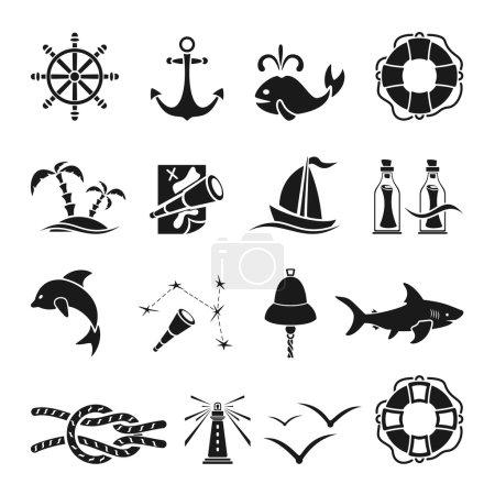 Illustration for Set of black marine icons isolated on white background, nautical theme, illustration - Royalty Free Image