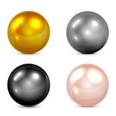 Set of metallic spheres and pearls isolated on white background illustration