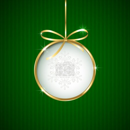 Christmas ball on green background