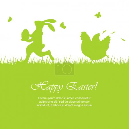 Illustration for Easter green background with running rabbit and hen, illustration. - Royalty Free Image