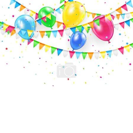 Illustration pour Fond de vacances avec ballons colorés, fanions et confettis, illustration . - image libre de droit