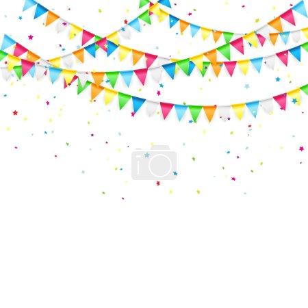 Ilustración de Fondo de vacaciones con banderines de colores y confeti, Ilustración. - Imagen libre de derechos