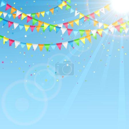 Ilustración de Banderines de fiesta y confetti sobre fondo de cielo, Ilustración. - Imagen libre de derechos