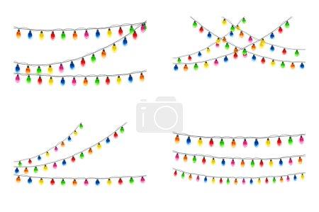 Set of Christmas lights on white background