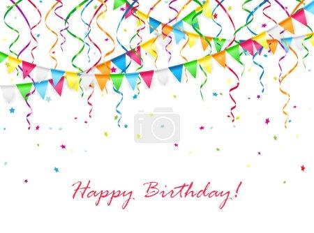 Ilustración de Fondo de cumpleaños con banderines multicolores, serpentinas y confeti, Ilustración. - Imagen libre de derechos