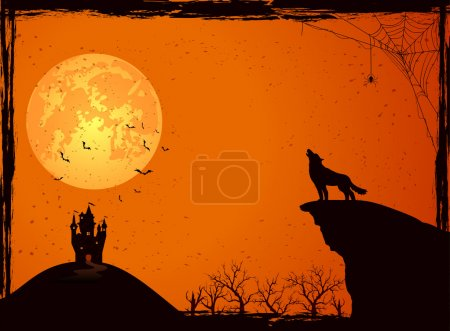 Castle and wolf on Halloween night