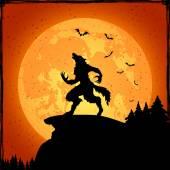 Werewolf on orange background
