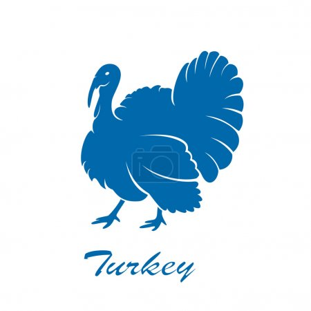 Illustration pour Icône bleue d'oiseau de dinde isolé sur fond blanc, illustration . - image libre de droit
