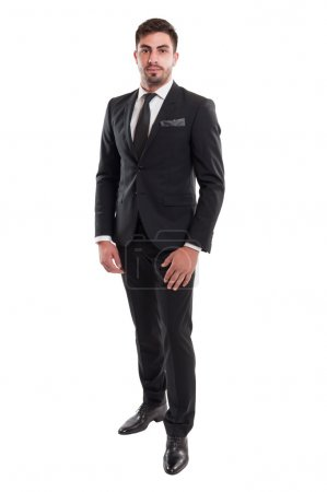 Elegant business man standing isolated on white background