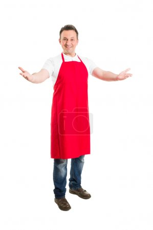 Friendly hypermarket employee with arms wide open