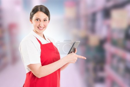 Modern hypermarket female worker
