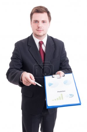 Sales manager or salesman showing printed financial charts and s