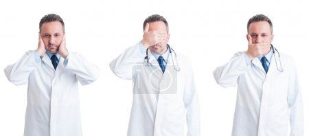 Medic or doctor in three stances blind, mute and deaf