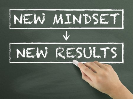 Photo for New mindset make new results written by hand on blackboard - Royalty Free Image