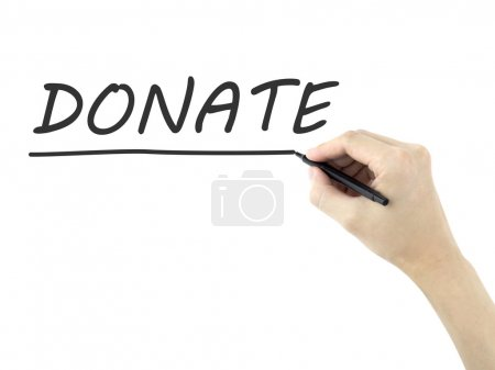donate word written by man's hand