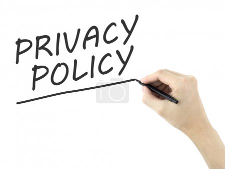 Privacy policy words written by man's hand on whit...
