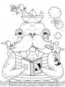 Adult coloring page - sailor walrus with seagulls
