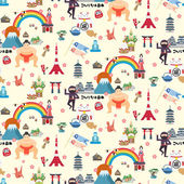 Japan travel seamless pattern