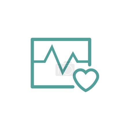 Illustration pour Icône de ligne mince de battement de coeur et cardiogramme en couleur turquoise - image libre de droit