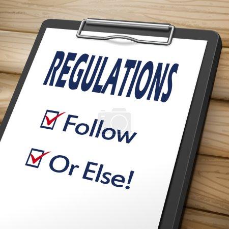 Illustration pour Image 3d du règlement presse-papiers avec cases à cocher marqués pour suivi et ou d'autre - image libre de droit