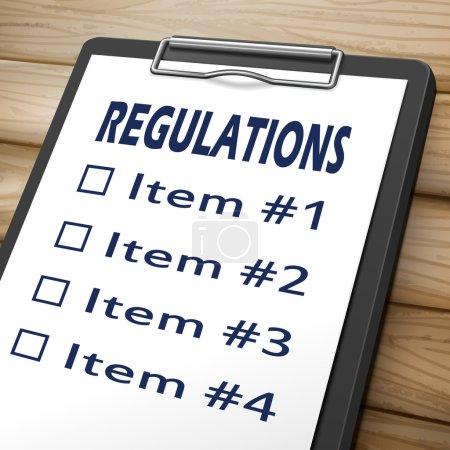 Illustration pour Image 3d du règlement presse-papiers avec cases à cocher marquée pour l'article un, deux, trois et quatre - image libre de droit