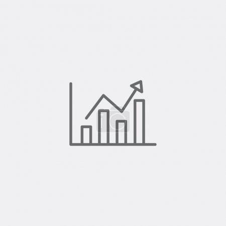 Illustration for Chart graph icon of grey outline for webpage - Royalty Free Image