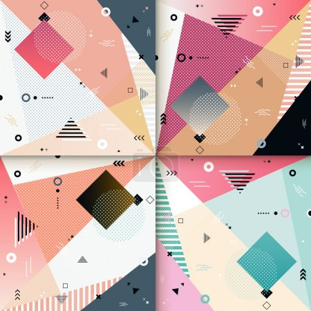 Illustration for Abstract background pattern design set with colorful geometric elements - Royalty Free Image