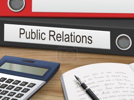 Illustration pour Reliures de relations publiques isolées sur la table en bois. Illustration 3D . - image libre de droit