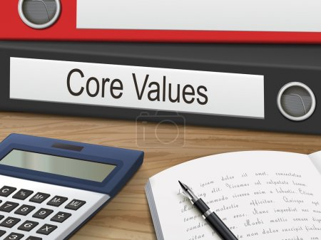 Illustration for Core values binders isolated on the wooden table. 3D illustration. - Royalty Free Image
