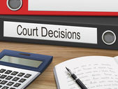 Court decisions binders isolated on the wooden table 3D illustration